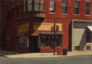 """Storefront with Bay Window"", oil, 10 1/8"" x 14 1/2"""